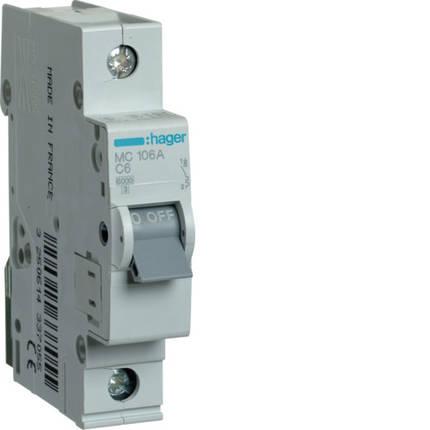 Автоматический выключатель 6А, 1п, С, 6 kA, hager, Франция, фото 2