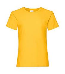 Футболка для девочек однотонная желтая 005-34