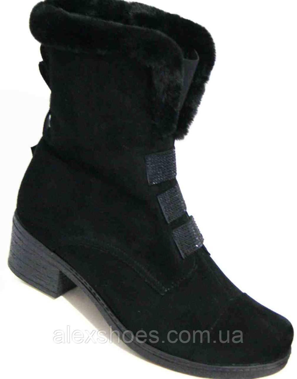 Ботинки женские зимние из натуральной замши большого размера от производителя модель В5272-4