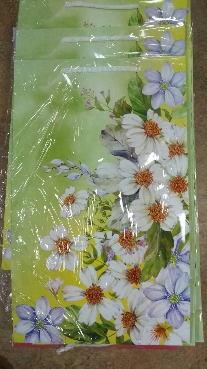 Подарочный пакет БОЛЬШОЙ ВЕРТИКАЛЬНЫЙ ''Цветы'' 25*37*8 см