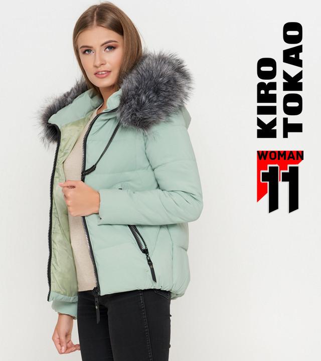 Куртка осенняя с опушкой мята