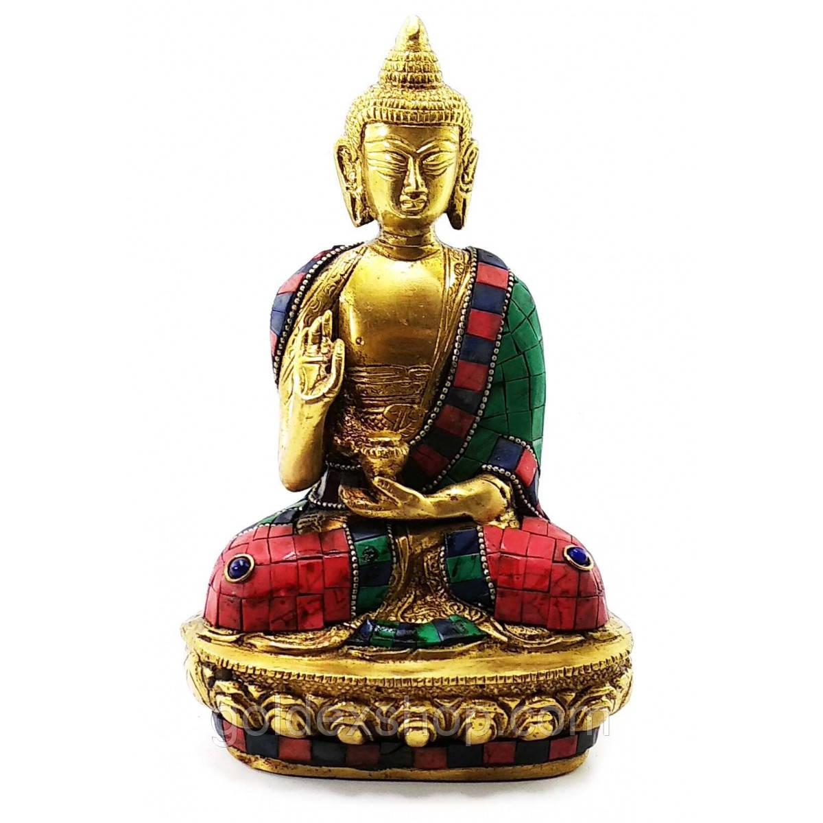 Статуэтка Будды из бронзы бирюза, кораллы (Высота 21 см)