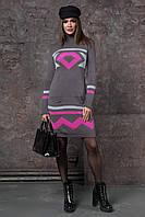 Модное женское вязаное  платье с узором в ромбы