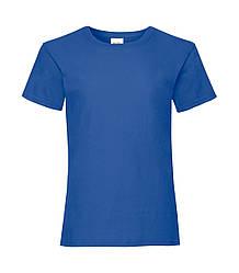 Футболка для девочек однотонная синяя 005-51