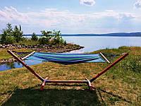Гамак на дерев'яному каркасі XL 200х100 см гамак зі стійкою, фото 1