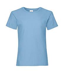 Футболка для девочек однотонная голубая 005-YT