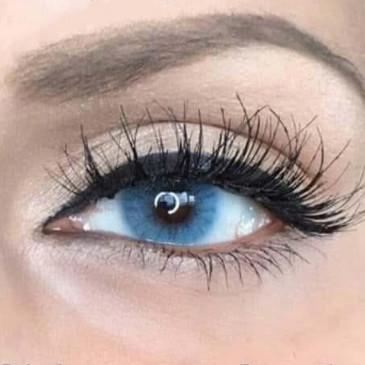 """Цветные линзы голубые """"Amber"""" для тёмных и светлых глаз. Купить цветные линзы голубые для глаз."""