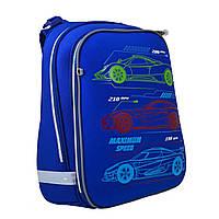 Синий каркасный рюкзак для школы с изображением автомобиля 38*29*15