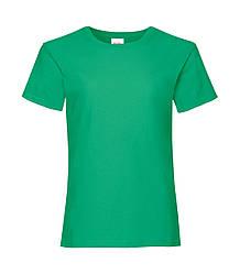 Футболка для девочек однотонная зеленая 005-47