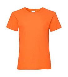 Футболка для девочек однотонная оранжевая 005-44