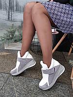 Белые кожаные сникерсы на липучке со вставками серой замши Philipp Plein