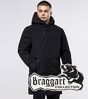 Длинная мужская демисезонная куртка Braggart Youth черная — размеры XL, XXL, 4XL