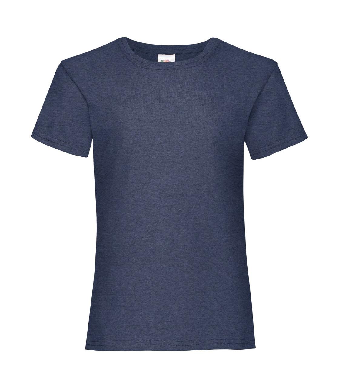 Футболка для девочек однотонная темно-синяя меланж 005-VF
