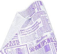 "Бумага упаковочная пт418.5 подарочная ""Газета Париж, фиолетовый шрифт на белом"", крафт 0.7 х10м"