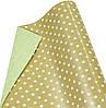 """Бумага упаковочная пт857.2 подарочная """"Горошек белый, золото и зеленый"""", двухсторонний крафт 0.7 х10м"""