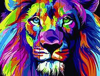 Картина по номерам на дереве Радужный лев набор для рисования, 40х50 см, С Коробкой