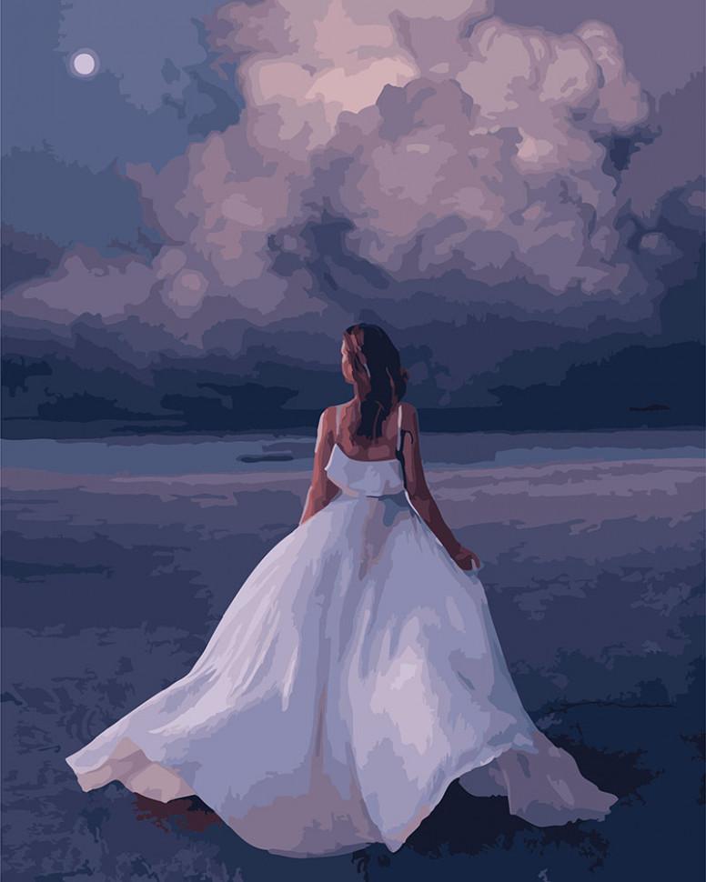 Картина по номерам Красавица в белом, 40x50 см., Brushme