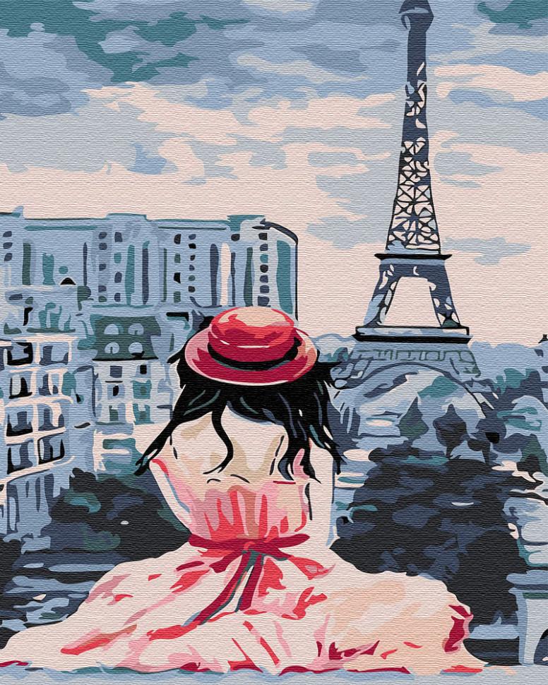 Картина по номерам Девушка в Париже, 40x50 см., Brushme