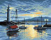 картина по номерам маяк и корабли 40x50 см Brushme