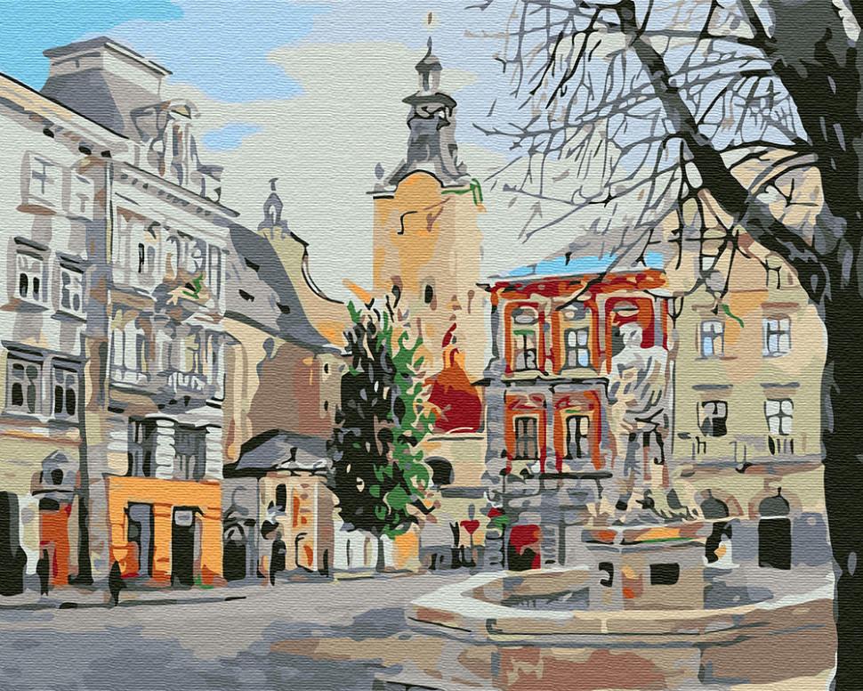 Картина по номерам Фонтан в городе, 40x50 см., Brushme