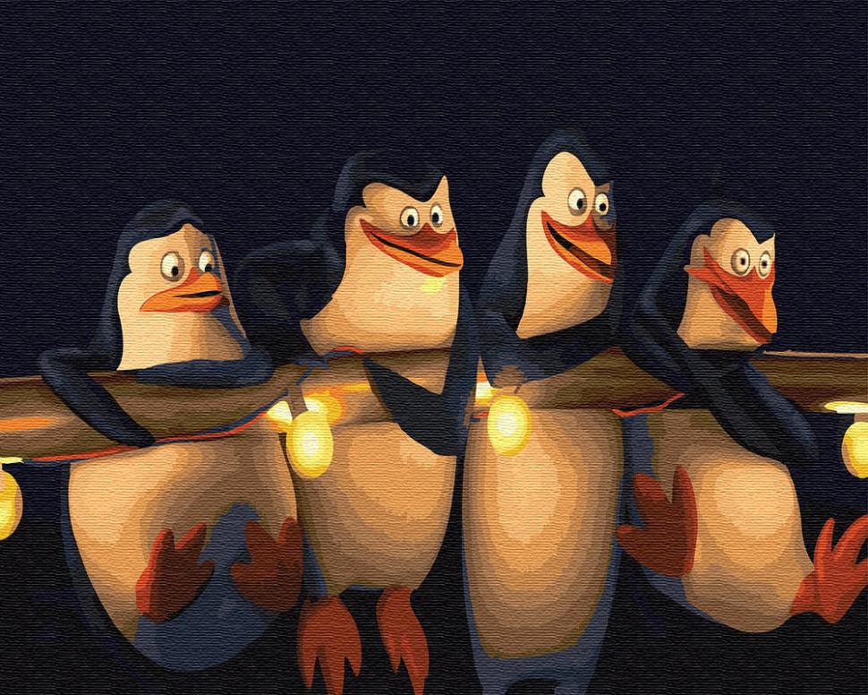 Картина по номерам Пингвины Мадагаскара, 40x50 см., Brushme