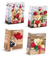 """Пакет подарочный DV-BK-5212M """"Медведи влюбляются"""", 26х32х10см 4вида 210г/м2 уп12"""