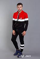 Спортивный мужской костюм Nike штаны и кофта с капюшоном чёрный с красным 48 50 52 54, фото 1