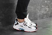 Мужские кроссовки в стиле Reebok Dmx, кожа, пена, белые с синими и черными вставками 44 (28 см)