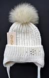 Теплая шапка для девочки с натуральным помпоном, фото 3