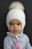 Теплая шапка для девочки с натуральным помпоном, фото 4