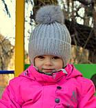 Теплая шапка для девочки с натуральным помпоном, фото 7