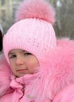 Теплая шапка для девочки с натуральным помпоном Розовый 46, фото 1