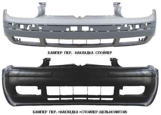Бампер передний VW GOLF IV с накладкой, спойлером (цельнолитой) (FPS). 1J0807217CGRU