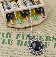 Хит продаж! Ожерелье из тибетского серебра с овальным кулоном черного цвета