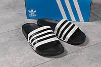 Мужские шлепанцы в стиле Adidas, полимер, пена, черные с белым 44 (28,7 см)