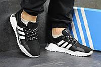 Мужские кроссовки в стиле Adidas, черные с белым 42 (26,5 см)