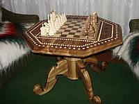 Шахматный стол орех инкрустация медь-бисер резной Шахматный стол