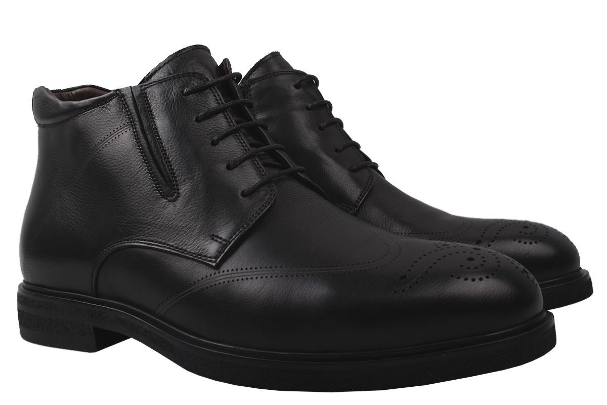 Ботинки мужские Lido Marinozi зимние натуральная кожа, цвет черный, размер 39-45