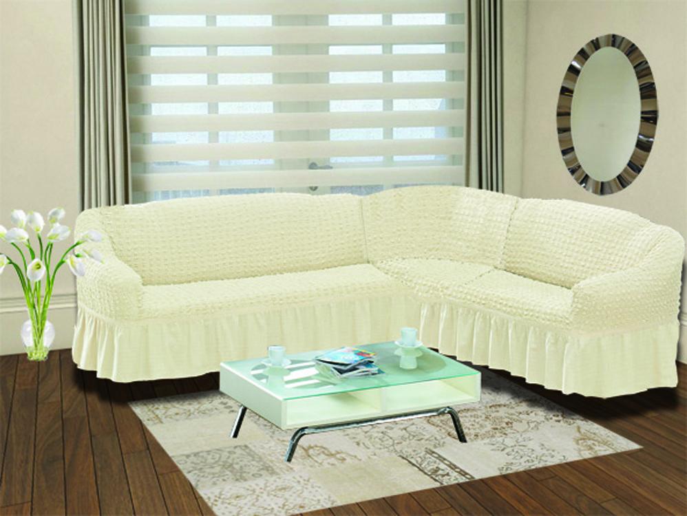 Чохол на кутовий диван з спідницею Кремовий Home Collection Evibu Туреччина 50107