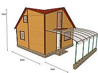 Дом деревянный двухэтажный. Обшивка блок-хаус