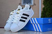 Женские кроссовки в стиле Adidas SuperStar, кожа, резина, белые с черным 36 (23 см)