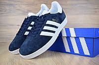 Мужские кроссовки, кеды в стиле Adidas Gazelle, замша, синие с белым 45 (28,5 см)
