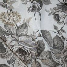 Тюль кисея цветы серый