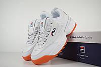 Женские кроссовки в стиле Fila disruptor 2, белые на бежевой кожа 40 (25,5 см)