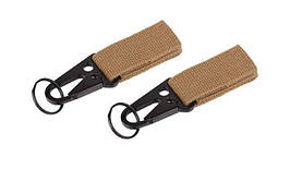 101 Inc. - MOLLE snap hook with keyring - 2 pcs - Coyote - JF003