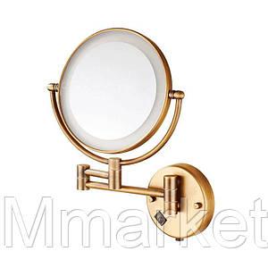 Настенное косметическое зеркало в ванную с LED подсветкой Art Design бронза