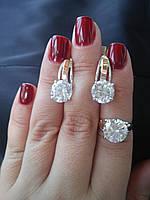 Серебряный гарнитур с наклдками золота Виктория