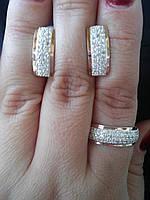 Гарнитура серебро с накладками золота Елена, фото 1