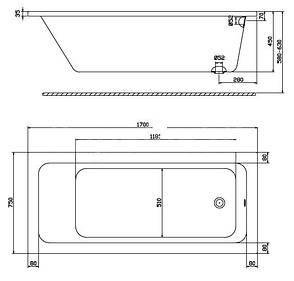 MODO прямоугольная ванна 170*75см, боковой слив, с ножками SN7, фото 2