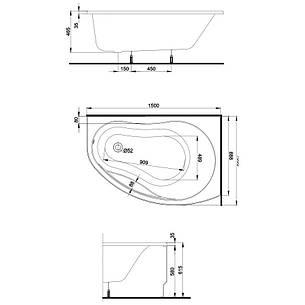 PROMISE ванна асимметричная 150*100 см, правая, белая, с ножками SN7 + сифон Viega Simplex  для ванны, фото 2